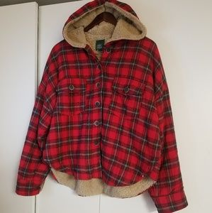 WILD FABLE Hooded Faux Fur Plaid Crop Jacket.